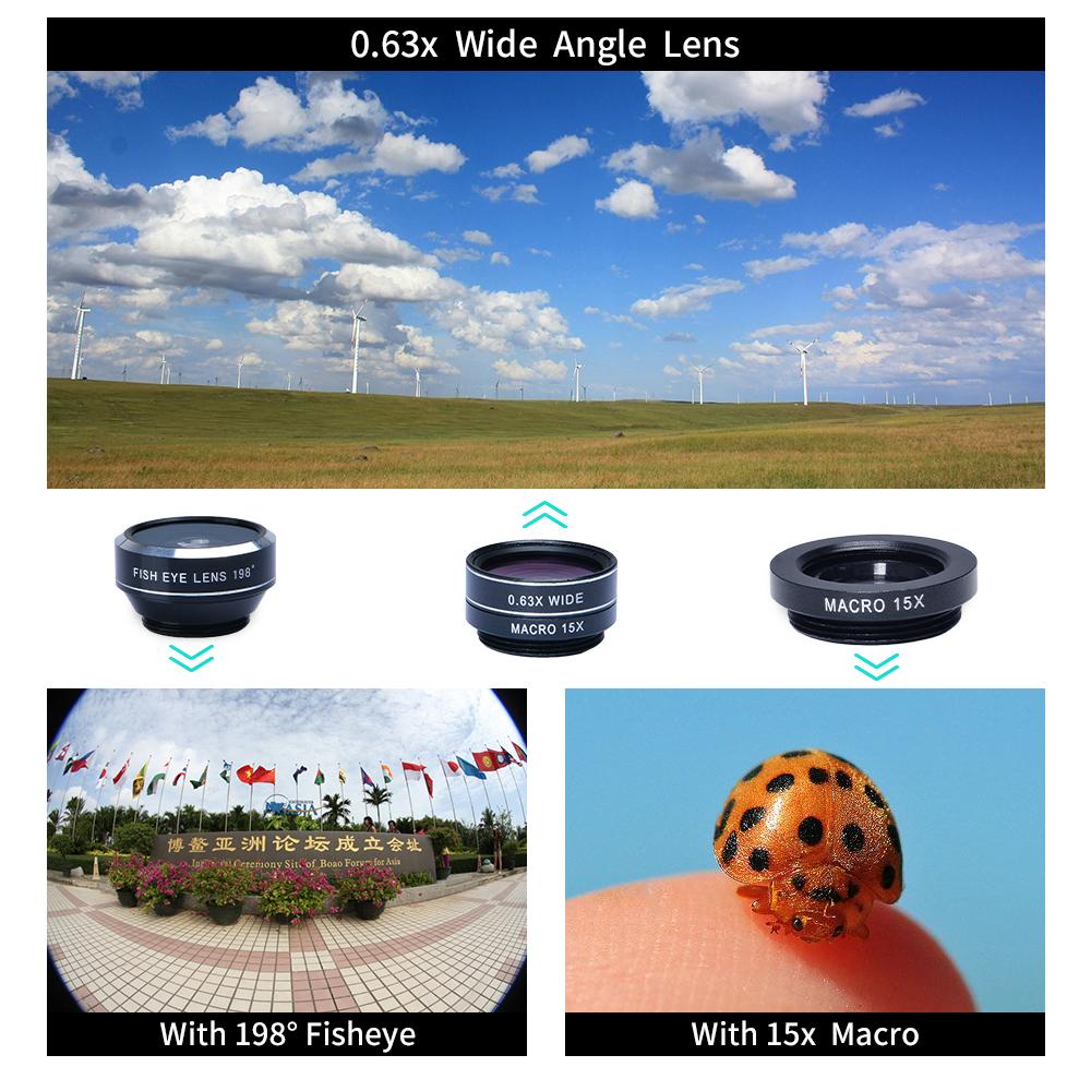 APEXEL 6IN1 phone camera lens 12X Telescope telephoto Zoom+fisheye wide angle macro Lens kit For iPhone7 6S plus Samsung s8 22