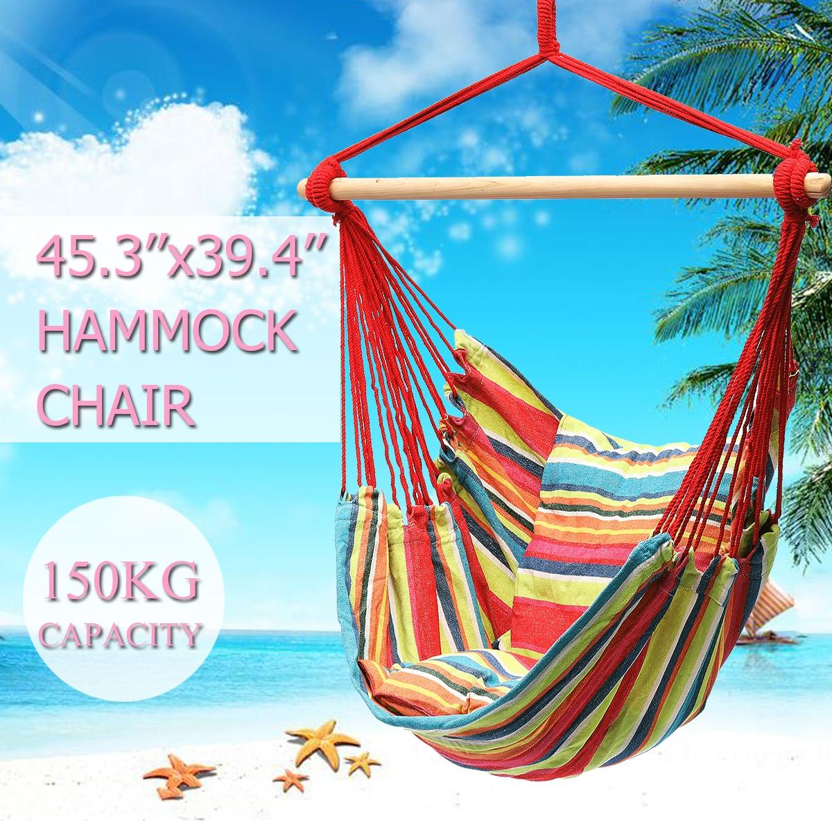 Hamacs suspendus de sécurité chaise meubles d'intérieur d'extérieur chaise oscillante toile dortoir balançoire de jardin + 2 oreillers hamac Camping