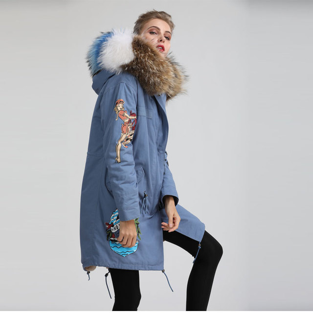 Aliexpress.com : Buy Navy blue long down mr fur parka, unique ...
