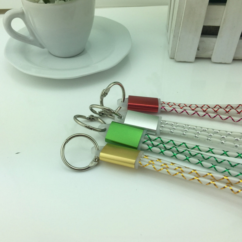 Antirr Universal Portable 2 in 1 USB Data Charging Cable Keychain Usb Cable Cord for Samsung HTC iPhone 5 5s 6 6s 6 plus 7 7plus