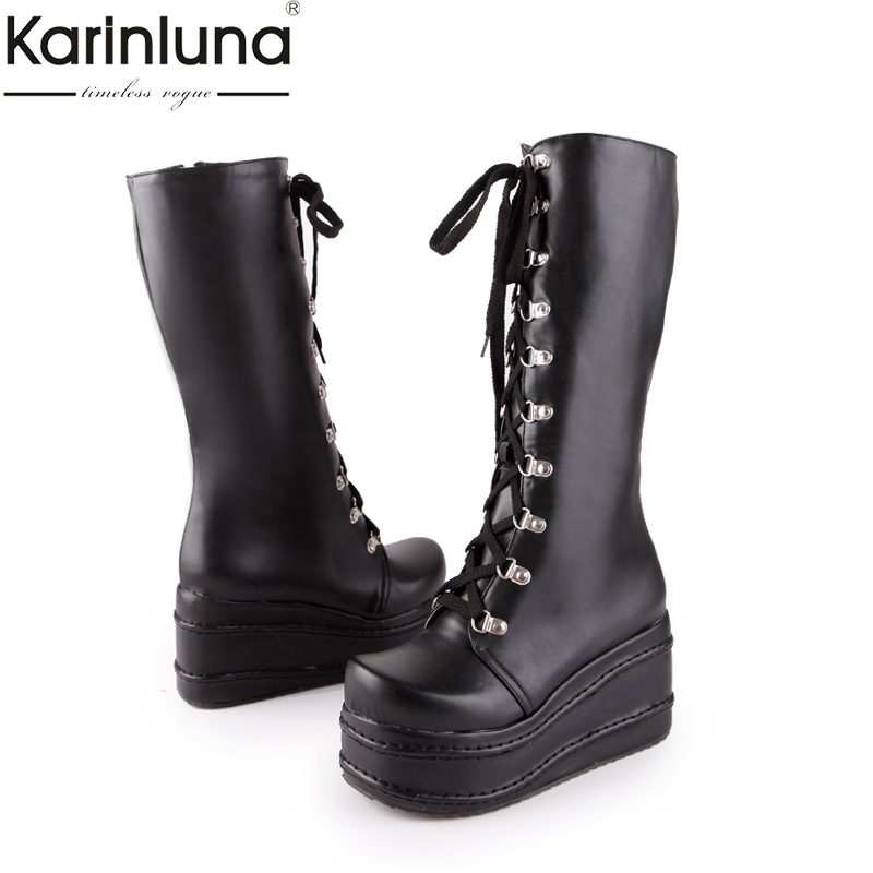 KarinLuna large sizes 31-49 customized fashion punk cosplay boots woman shoes platform winter wedge high heel knee high boots