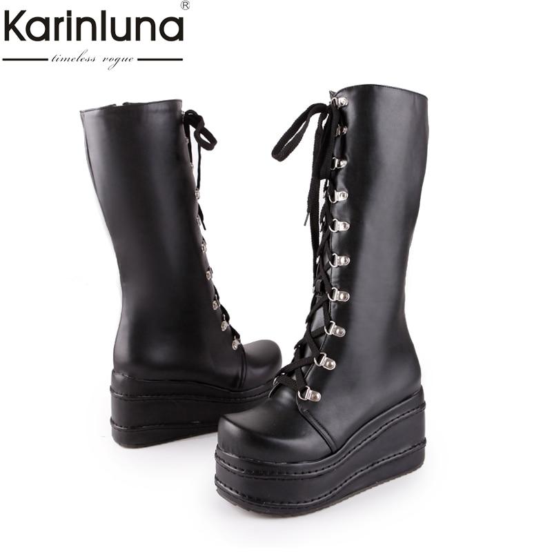 KarinLuna tamaños grandes 31-49 personalizado punk de moda cosplay botas Mujer Zapatos de plataforma de cuña de tacón alto de la rodilla de alta botas