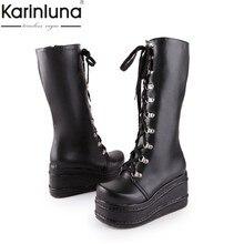 f557ca2c9d KarinLuna tamaños grandes 31-49 personalizado punk de moda cosplay botas  Mujer Zapatos de plataforma de cuña de tacón alto de la.