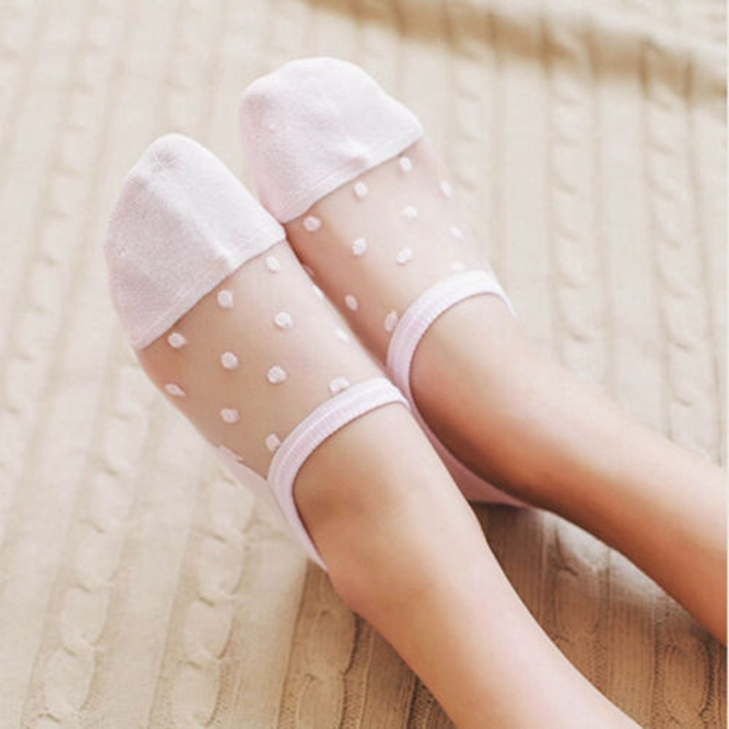 Women Lace Socks Crystal Glass Silk Knit Girl Dot Print Transparent Summer Invisible Sock Slippers