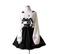 Black Comic Rabbit Dress Teens Girls 2Pcs Suit Sweet Cotton Dress Short Cute Bunny Print Long Sleeves Japanese Lolita Dress 8446
