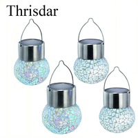 4PCS Lot 7 Color Changeable Solar Garden Hanging Glass Ball Lamps Outdoor Solar Hanging Lantern Ball