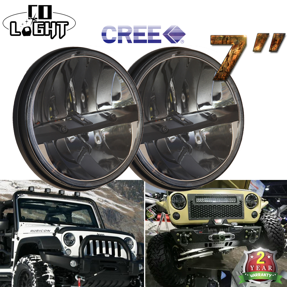 CO LIGHT 2 Pieces 7 Inch <font><b>Led</b></font> Driving Light 80w <font><b>Led</b></font> Chips 12V 24V 30W <font><b>Led</b></font> Woring Light High Low Beam for Jeep Wrangler Lada Niva