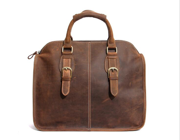 Nesitu Men Briefcase Genuine Leather Bags Crazy Horse Handbags Office Bags for Mens Messenger Bag Laptop Bag Briefcases #M3867 joyir crazy horse leather briefcases men s genuine leather business bags male shoulder bag laptop bag men office bags for men