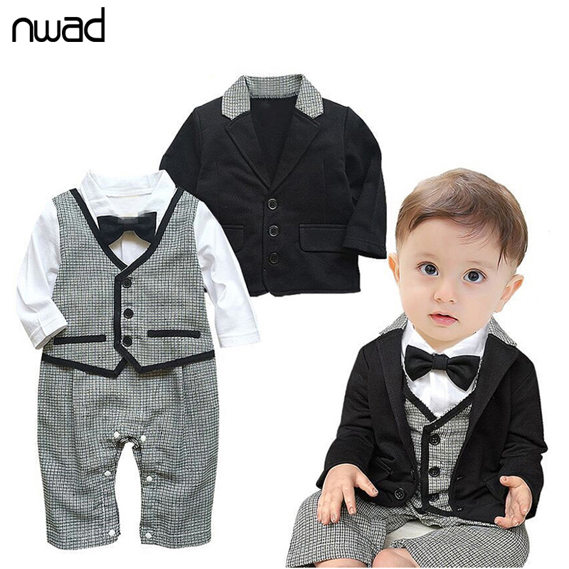 2PCS /Set Baby Kid Plaid Clothing Set Gentleman Formal Suits For Newborn Baby Boy Party Clothes Bow Ties Romper +Jacket  FF027 3pcs set baby boy clothes newborn gentleman baby clothing shirt vest pants baby boy clothing set