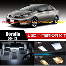 Free Shipping 14Pcs/Lot 12v Xenon White/Blue Package Kit LED Interior Lights For 00-13 Toyota Corolla