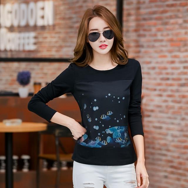 Tee Shirt Long Sleeve Woman T-Shirt Womens Tops Fashion 2016 Tshirt Women Cotton Camisetas Mujer Plus Size Graphic Korean Tops