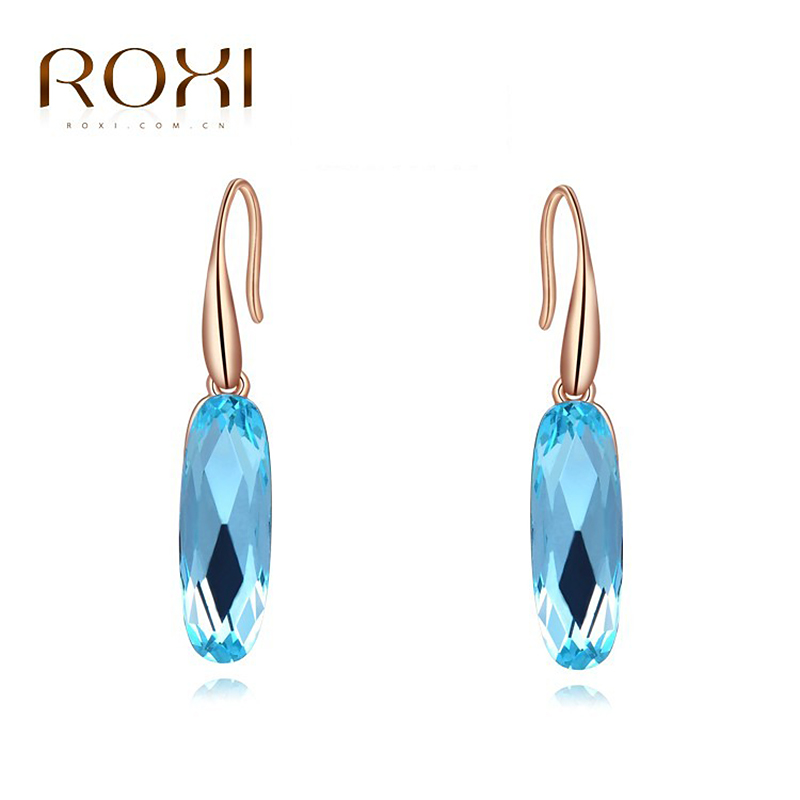 ROXI Austria Anting Kristal Biru Panjang Colorful Geometric stud Earrings Anting untuk Wanita Pernyataan Perhiasan Elegan Dropship