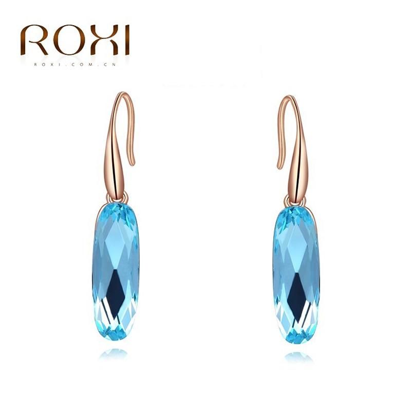 964be13ff ROXI Austrian Long Blue Crystal Earrings Colorful Geometric stud Earrings  Elegant Earrings for Women Statement Jewelry Dropship