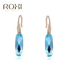 ROXI Austrian Long Blue Crystal Earrings Colorful Geometric stud Earrings Elegant Earrings for Women Statement Jewelry Dropship