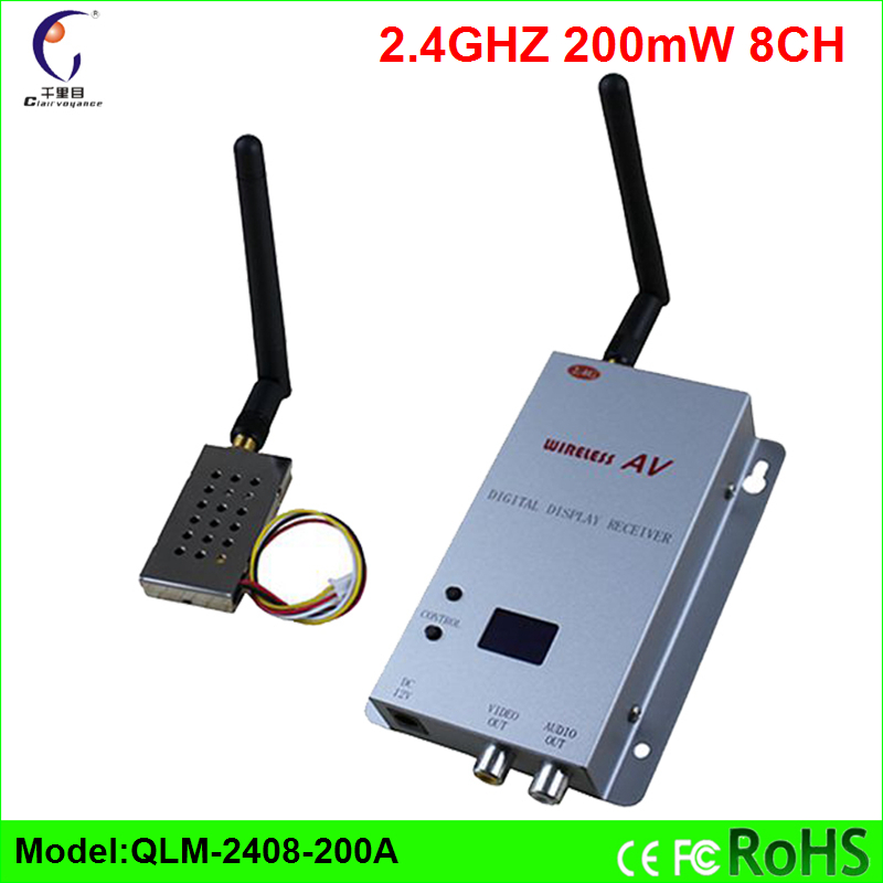 ФОТО 200mW 2.4G  Wireless Video Audio Transmitter Receiver 8 CH Transceiver CCTV FPV 300-800M Multi-copter Car Helicopter DHL Free