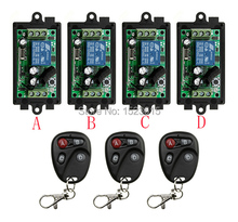 NEW DC12V 1CH 10A Radio Controller RF Wireless Relay Remote Control Switch 315 MHZ 433 MHZ teleswitch 3 Transmitter +4 Receiver
