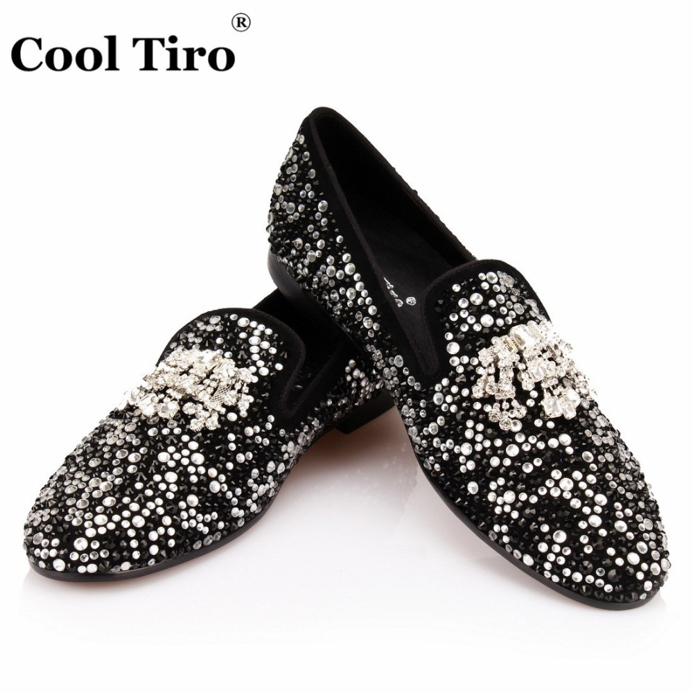 COOL TIRO Black White Strass Loafers Men Moccasins Crystals Tassel Suede Dress Shoes Flats Slippers Casual
