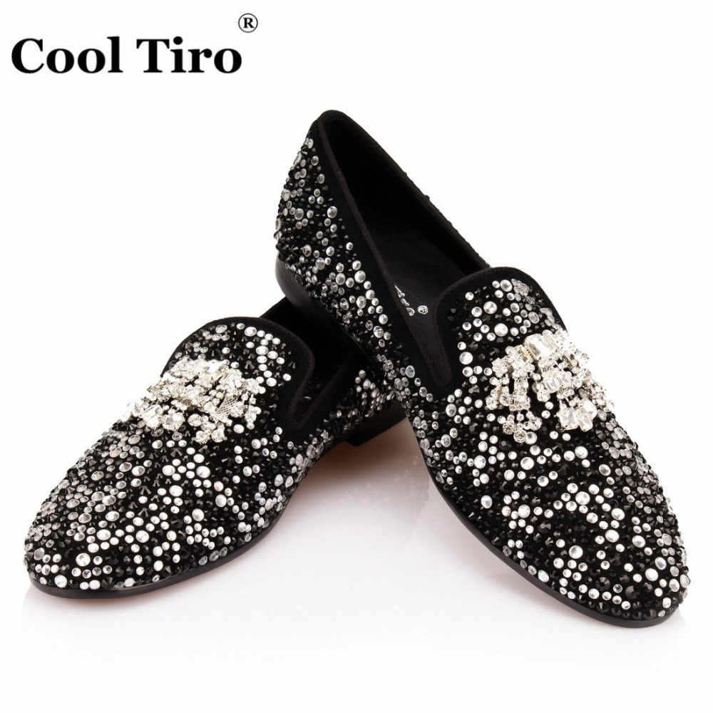 8ea1bb3a2 COOL TIRO Black White Strass Loafers Men Moccasins Crystals Tassel Suede  Dress Shoes Flats Slippers Casual