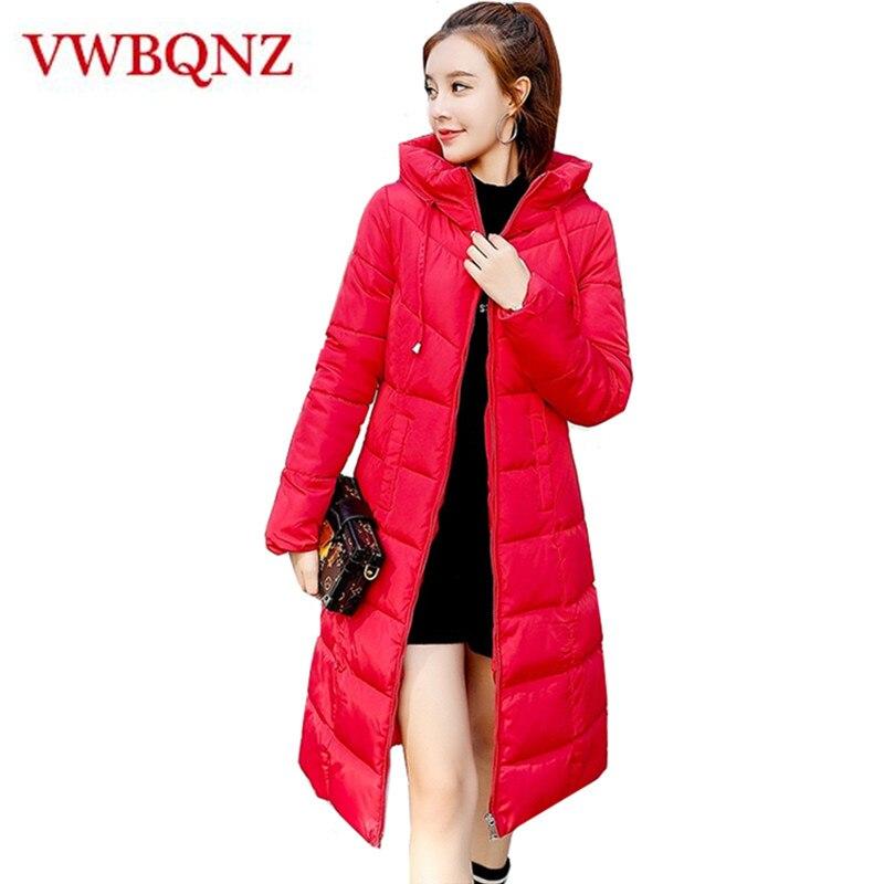 2018 New Plus Size 6XL Women Winter Hooded Warm Thicken Coat Slim Cotton Padded Basic Jacket Black   Parka   Female Long Outwear
