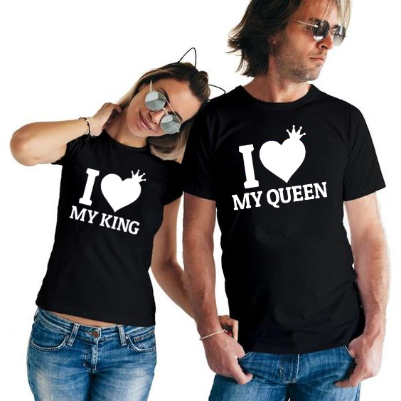 I Love My King I Love My Queen Couple Shirts King Queen Matching Couples T Shirt Fashion Graphic Tumblr Lover T-shirt Outfits