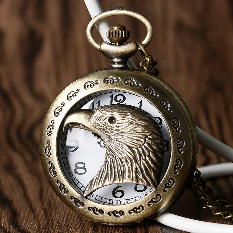 Cool Eagle Hawk Head Necklace For Men Women Parents Vintage Bronze Quartz Pocket Watch Retro Pendant With Long Chain 2018 Gift