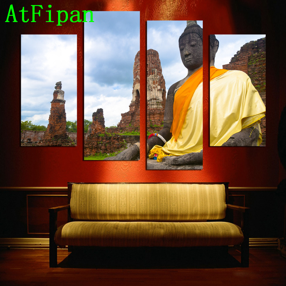 Framelessoil Paintings Canvas Colorful Buddha Sitting Wall: AtFipan Canvas Painting 4 Pieces Home Decor Modular Oil