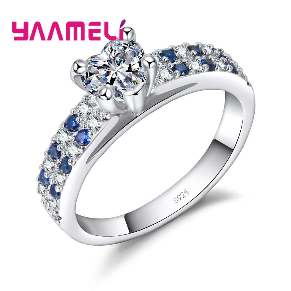 YAAMELI Love Heart Crystals For Women Wedding Engagement Rings With Cubic Zirconia Proposal 925 Sterling Silver Finger Ring