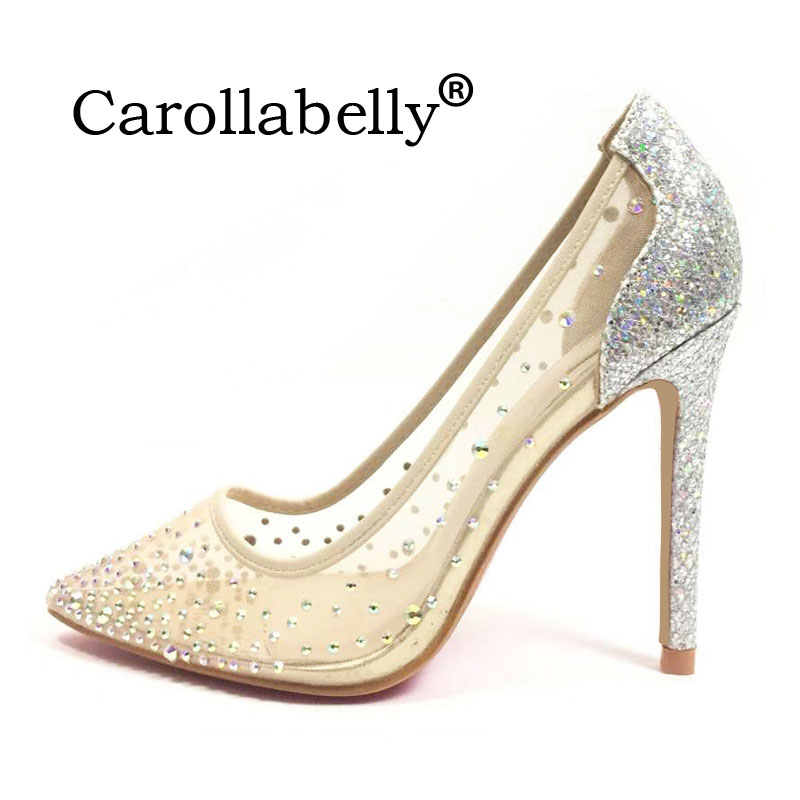 Carollabelly Brand Shoes  Bling Sexy Design Pumps Pointed Toe  Women High Heel Mesh Party Wedding Stiletto Shoes  Thin Heels doratasia denim eourpean style big size 33 43 pointed toe women shoes sexy thin high heel brand design lady pumps party wedding