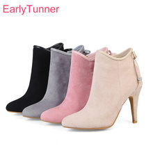 Flambant neuf chaud hiver Glamour gris abricot femmes bottines rose confortable dame chaussures à talons hauts EY11 Plus grande taille 11 32 43 48