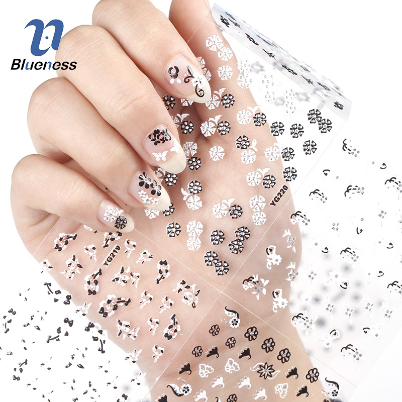 24 Pcs/Lot Beauty Black White Flowers Design 3D Nail Stickers Glitter Nail Art Decorations Manicure Tools For Charms Nails JH162 24 manicure designs colorful hello kitty nail stickers nails diy beauty decorations tools for 3d nail art jh156 nail art tools