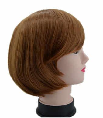 Pochylona Bangs peruka ukośne grzywka krótkie faliste do włosów syntetyczny żółty blond Hairpiece włókno termoodporne kobiety Party Hairsets
