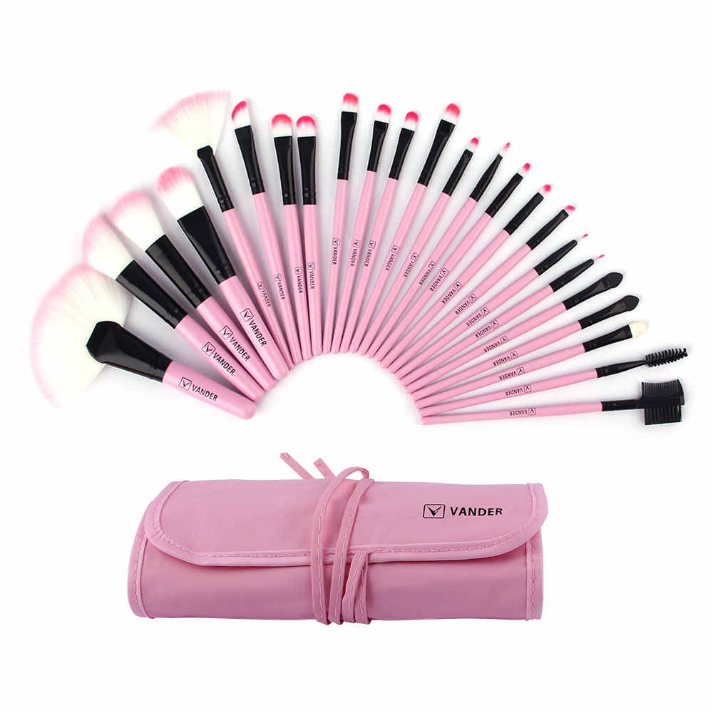 VANDER 24 Pcs Pincéis de Maquiagem Definir Ferramentas de Beleza Cosméticos Sobrancelha Sombra Em Pó Pincel Make Up Maquiagem Kits + Bolsa Saco