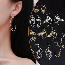Girls Multiple Choice Earrings Retro Metal Alloy Fashion Abstract Hollow Out Dangle Earrings New  earring Face 2018 New Hot(China)