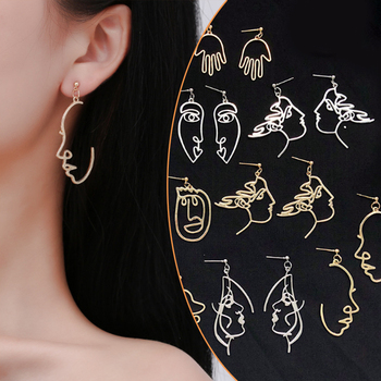 Girls Multiple Choice Earrings Retro Metal Alloy Fashion Abstract Hollow Out Dangle Earrings New  earring Face 2018 New Hot