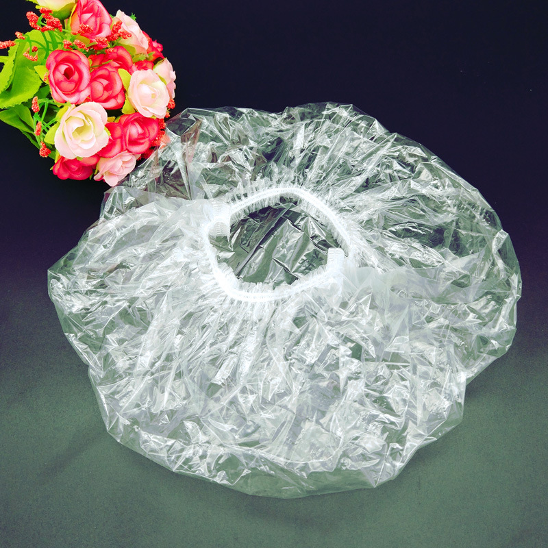 100PCS Disposable Shower Cap Plastic Waterproof Transparent Color Shower Hat Hotel For Travel Home One Time Bathroom Products in Shower Caps from Home Garden
