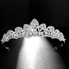 SLBRIDAL Alloy Clear Rhinestone Crystal Wedding Tiara Crown Bridal Hair Accessories Bridesmaids Princess Women Jewelry