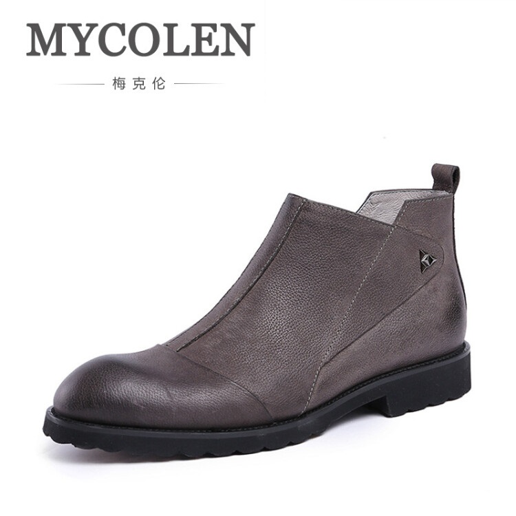 MYCOLEN Men's Fashion Boots New Autumn Handmade Cowhide Leather Rubber Boots Male British Style Chelsea Boots Rivet Shoes Men 2017 new autumn winter british retro men shoes zipper leather breathable sneaker fashion boots men casual shoes handmade