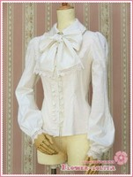 Renaissance Victorian Women Long Sleeve Vintage Lace Black White Gothic Sweet Lolita Blouse Cosplay Shirt