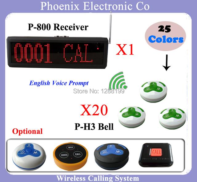 Sistema de Exibição de Sistema de Atendimento ao cliente ou na Cozinha Para a Sala de KTV 20 pcs de Botão de Campainha de Chamada e 1 pcs de P-800 Wireless Display