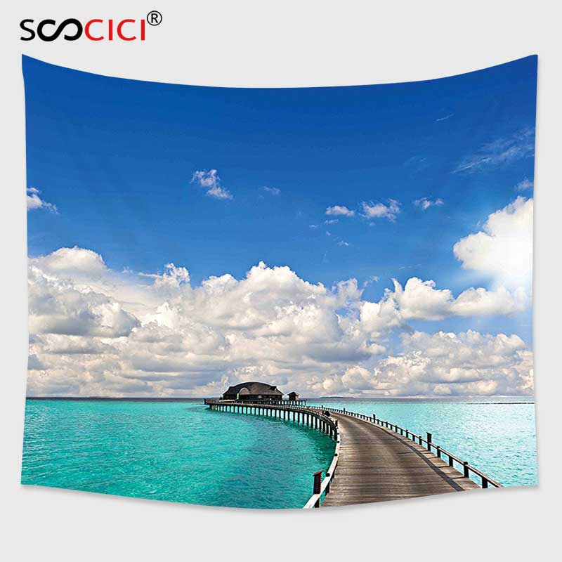 Cutom Tapestry Wall Hanging,Tropical Exotic Seascape Sunny Summer Day in Tranquil Island Maldives Vacation Picture Turquoise