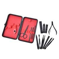 15 pçs orelha picareta aliciamento kit manicure pedicure toe prego ferramentas preto conjunto de aço inoxidável com caso cortador de tosquiadeira de unhas aparador