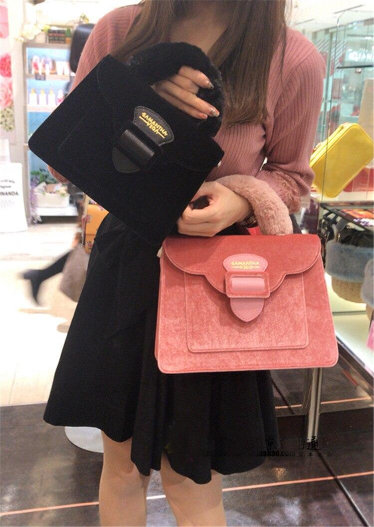 17 Christmas limited velvet suede handbag Samantha Vega plush handle organ shoulder bag Retro small flap square Messenger bag 18