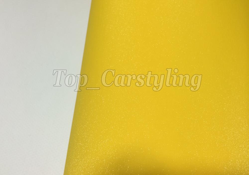 Yellow glitter vinyl sandy car wrap film (3)