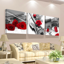 Без рамы HD печать стены искусства холст модульный Триптих Цветы Картина абстрактная красная роза гостиной украшения для дома