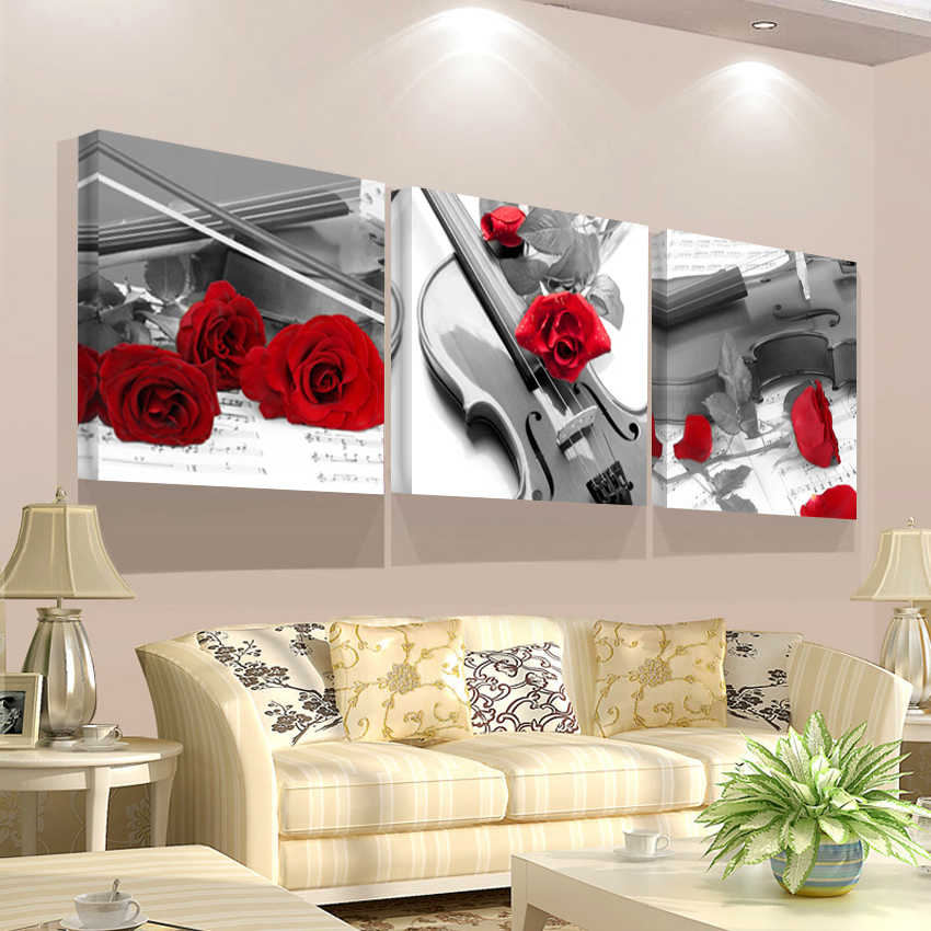 Unframed HD Print Wall Art Canvas Modular Triptych Flowers Painting Picture of Abstract Red Rose Living Room Home Decorations