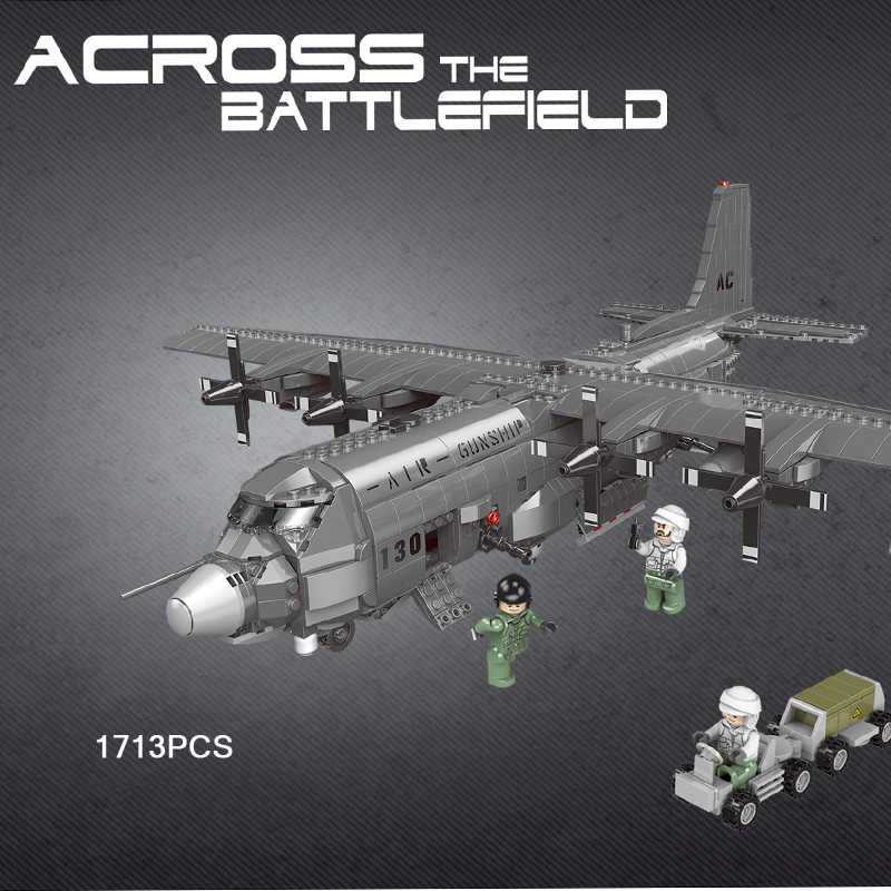 Modern military USA AC130 Air Gunship fighter batisbricks figures building block ww2 army forces minifigs airplane bricks toys
