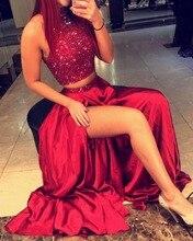 2016 Exquisite Frisada Top Longo Vermelho Escuro do Regresso A Casa Do Vestido 2 Peças de Alta-neck Uma Linha de cetim Cristal Vestidos De Formatura Curto(China (Mainland))