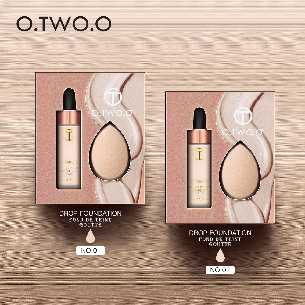 O TWO O 15ml Foundation Soft With Sponge Matte Oil Control Concealer Liquid Foundation Cream Long