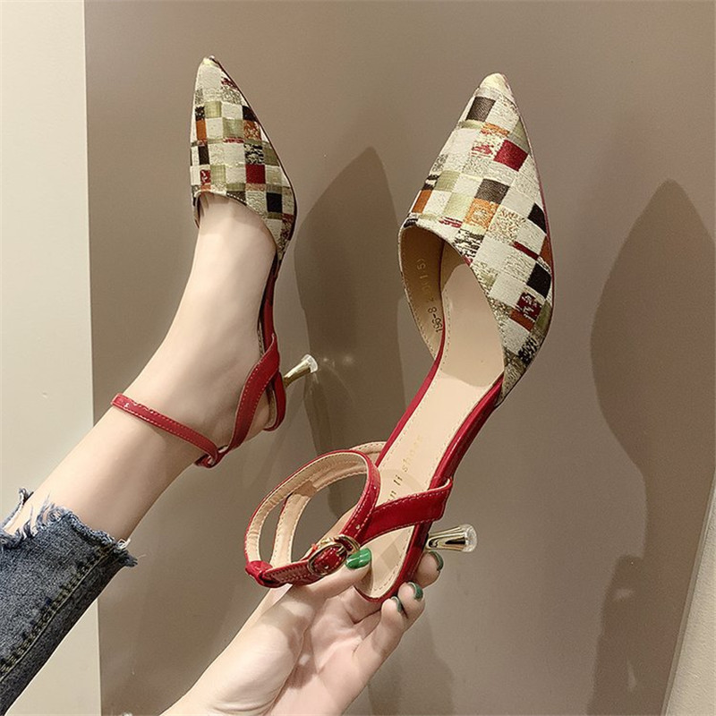 2019 New Summer Ladies Shoes Temperament After The Empty Buckle Pointed Heel Sandals Women's Shoes Stiletto Plaid Heels