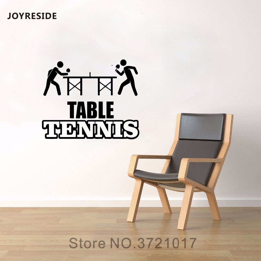 JOYRESIDE Table Tennis Wall Decal Vinyl Sticker Ping Pong Decor Sporty Kids Home Interior Living Room Playroom Decoration A016